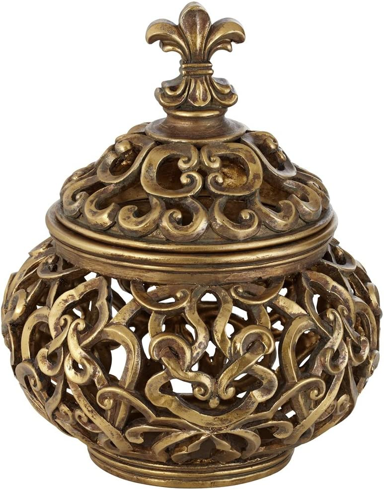 "Universal Lighting and Decor Sherise Antique Gold 8 3/4"" High Fleur-de-Lis Round Jar - Kensington Hill"