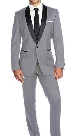 b7e6963efb5 Braveman Slim Fit Light Gray One ButtonTuxedo Tux Suit with Shawl Lapel