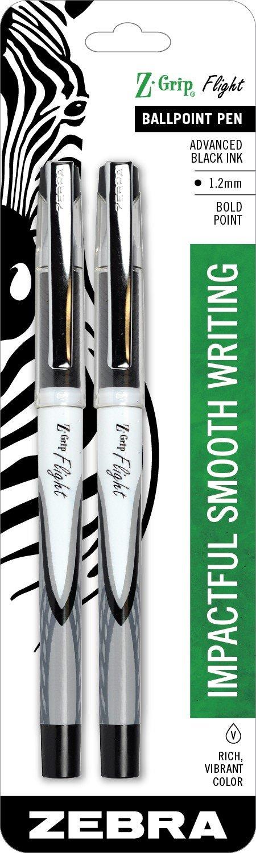 2 x Zebra Pen Z-Grip Flight Stick Ballpoint Pen, Bold Point