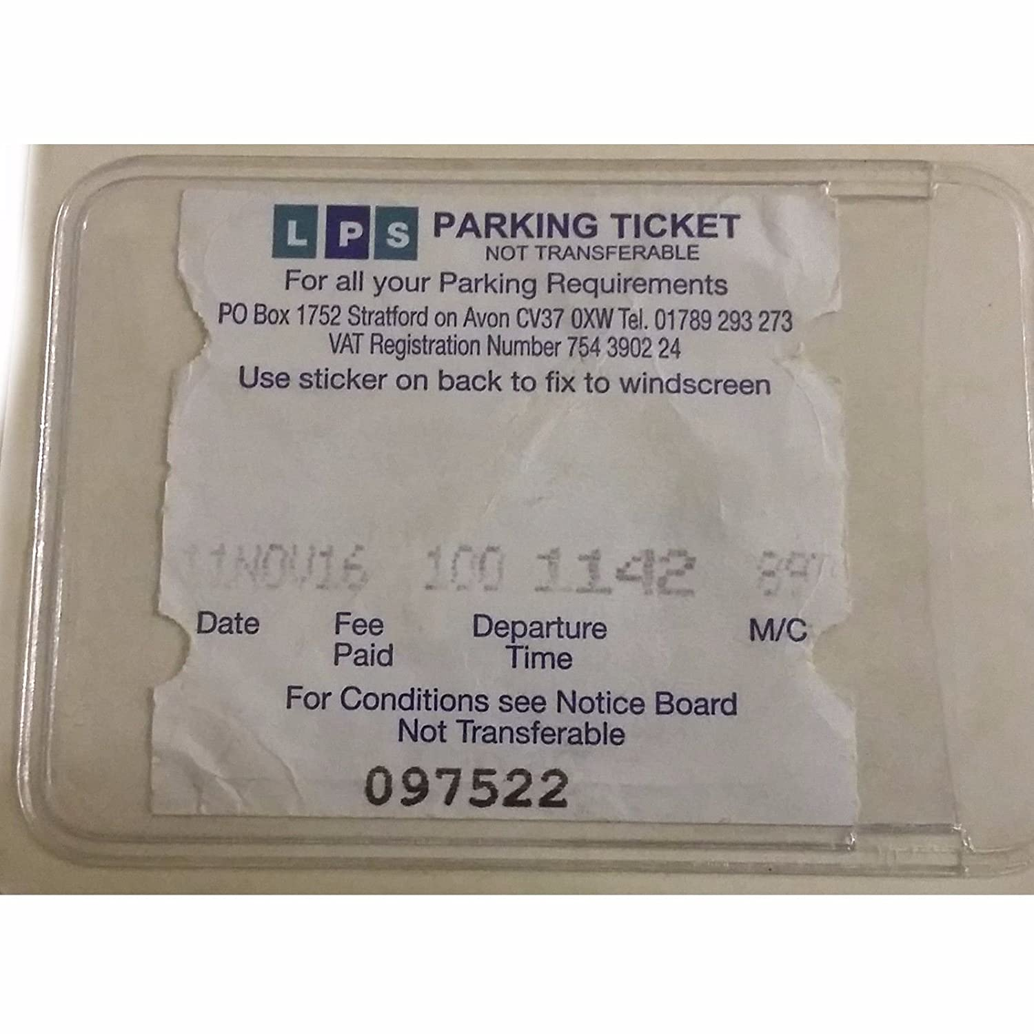 Self Adhesive Backed Windscreen Parking Ticket Permit Card Holder Family Motoring & Leisure