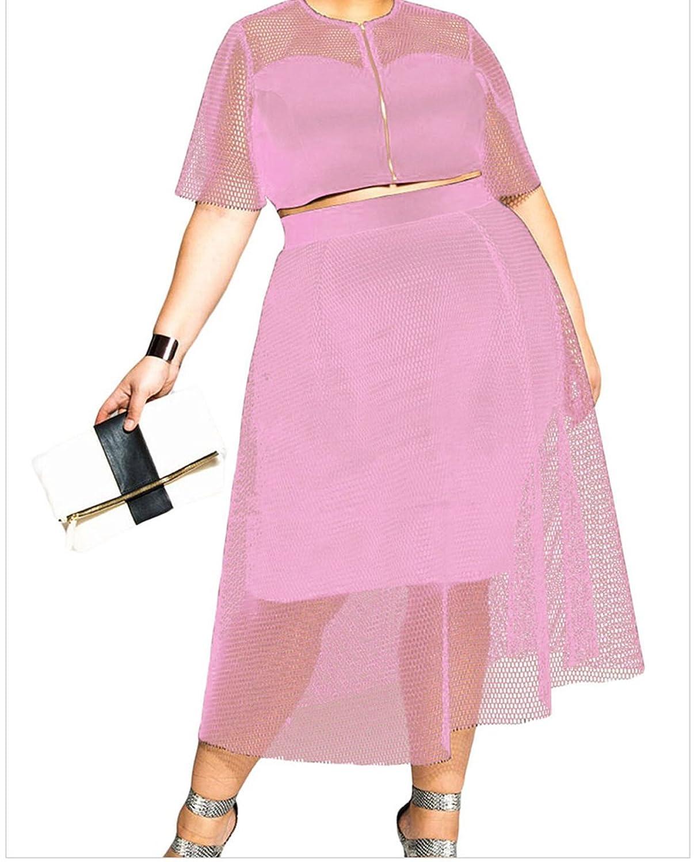 Christmas TomYork Mesh Joint Plus Crop Top Skirt Set