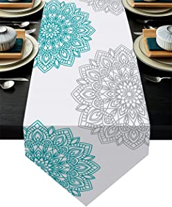 Vintage Bohemian Mandala Floral Table Runner 13x70 Inch Turquoise Gray and Teal Dahlia Flower Table Runner Decor for Wedding Party Decorations, Dining Table Decor, Kitchen Accessories