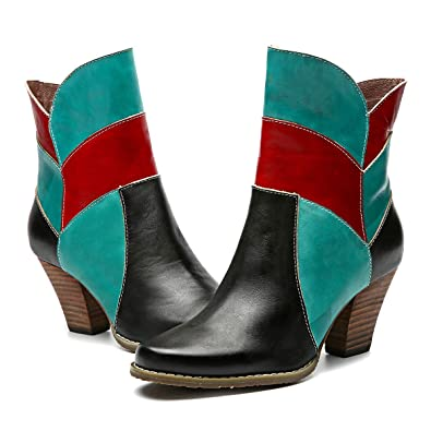 9318e0cf2c4f23 Camfosy Bottines Western Femmes, Chaussures de Ville Hiver en Cuir à Talons  Hauts Confortables Western