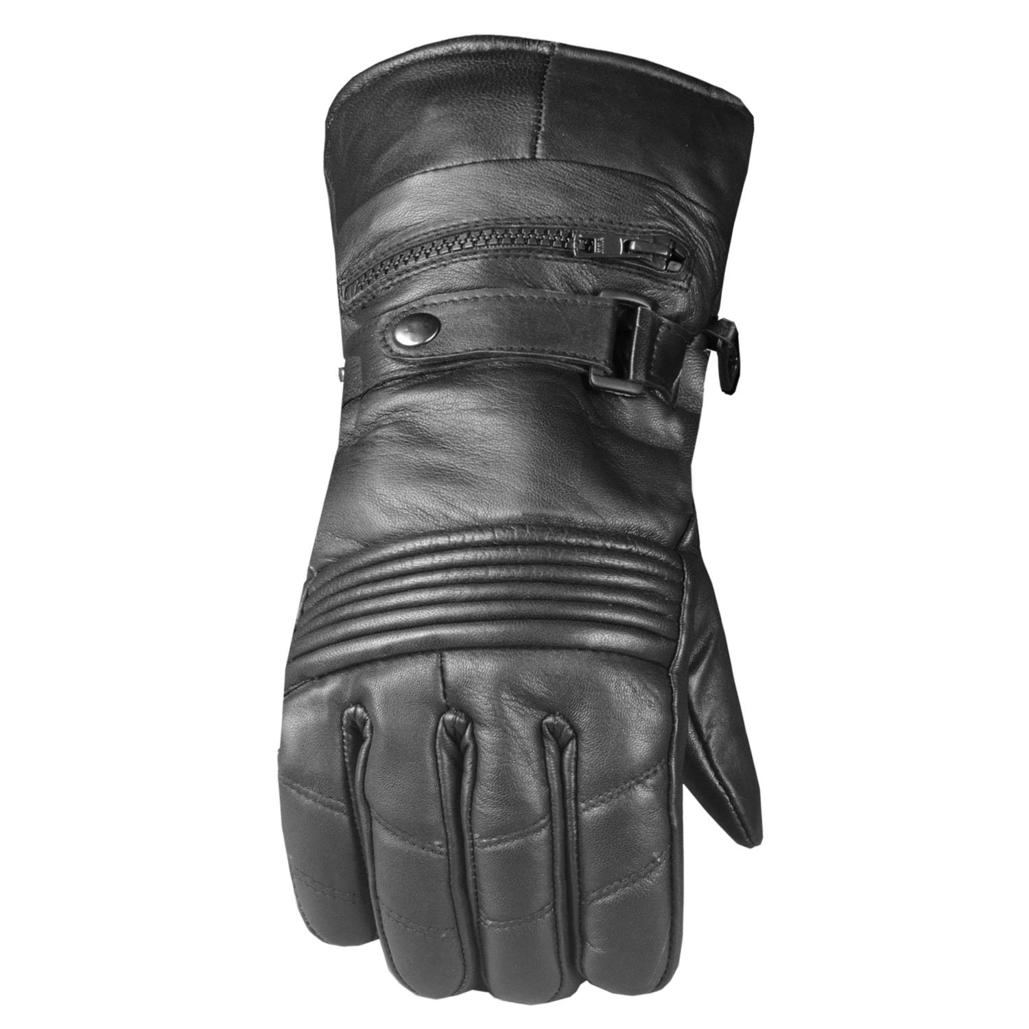 Men's Premium Leather Insulated Thinsulate Winter Motorcycle Gloves Black XL