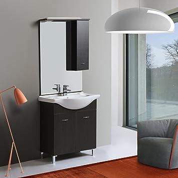 Badezimmermöbel Dunkelbraun perla badezimmermöbel 75 cm dunkelbraun eiche amazon de küche