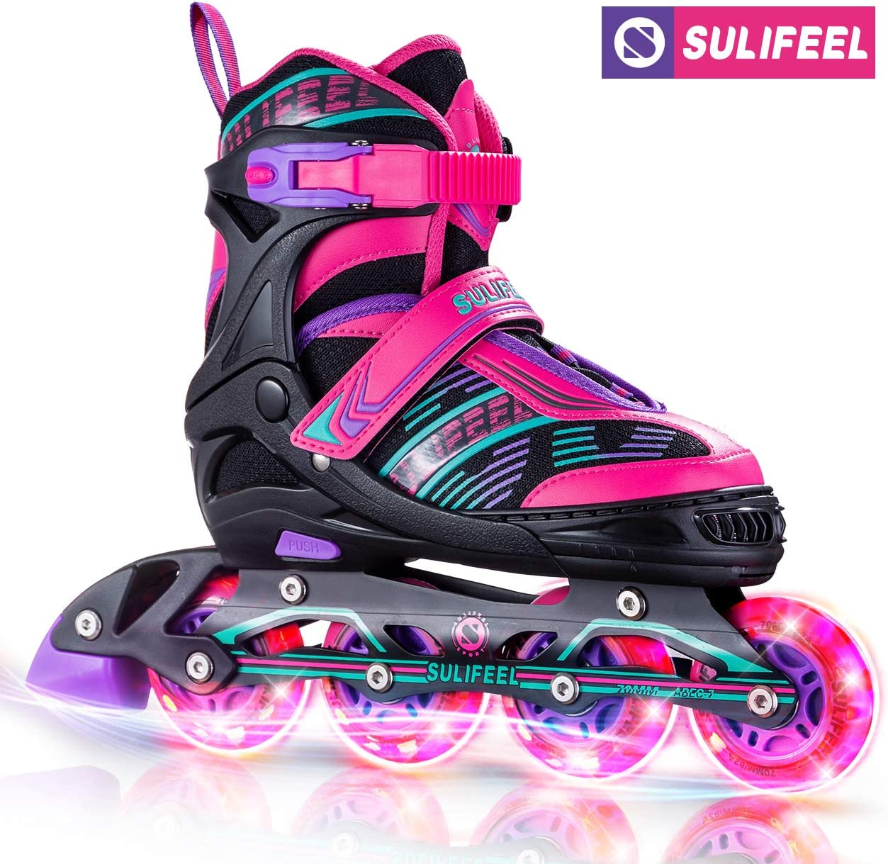Sulifeel Arigena 4 Size Adjustable Light up Inline Roller Skates for Girls and Boys, Roller Blades for Kids and Women Adults Red Purple Green