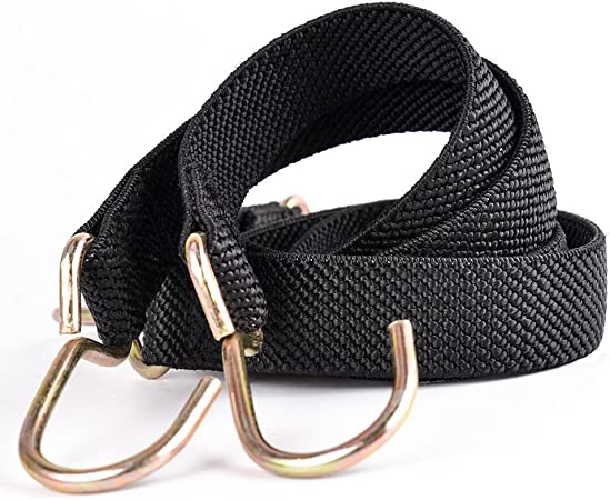Black Marcobrothers Flat Bungee Cord with Hooks Adjustable Fits Size