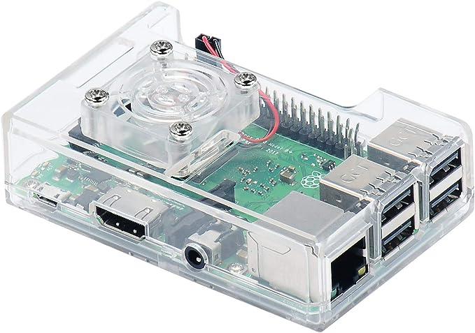 BliliDIY Estuche Abs 3 En 1 + Ventilador De Refrigeración + Kit De Disipador Térmico para Raspberry Pi 3B + / 3B ...