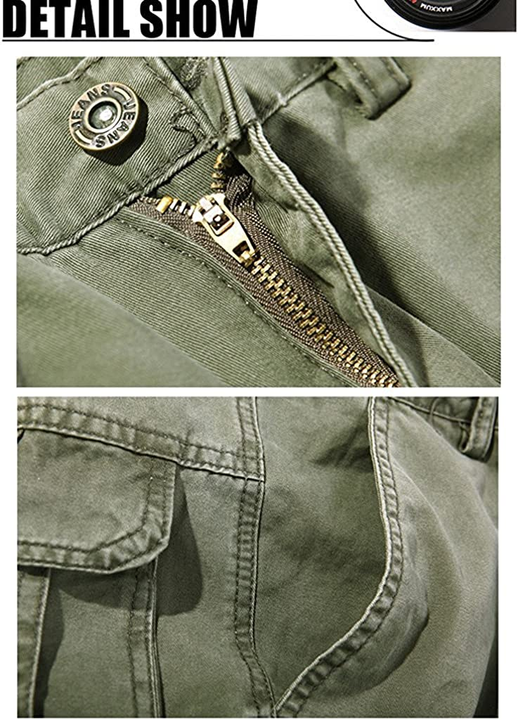 Rika0-0 Well Worn Mens Casual Military Army Style Cargo Combat Work Pants Trousers