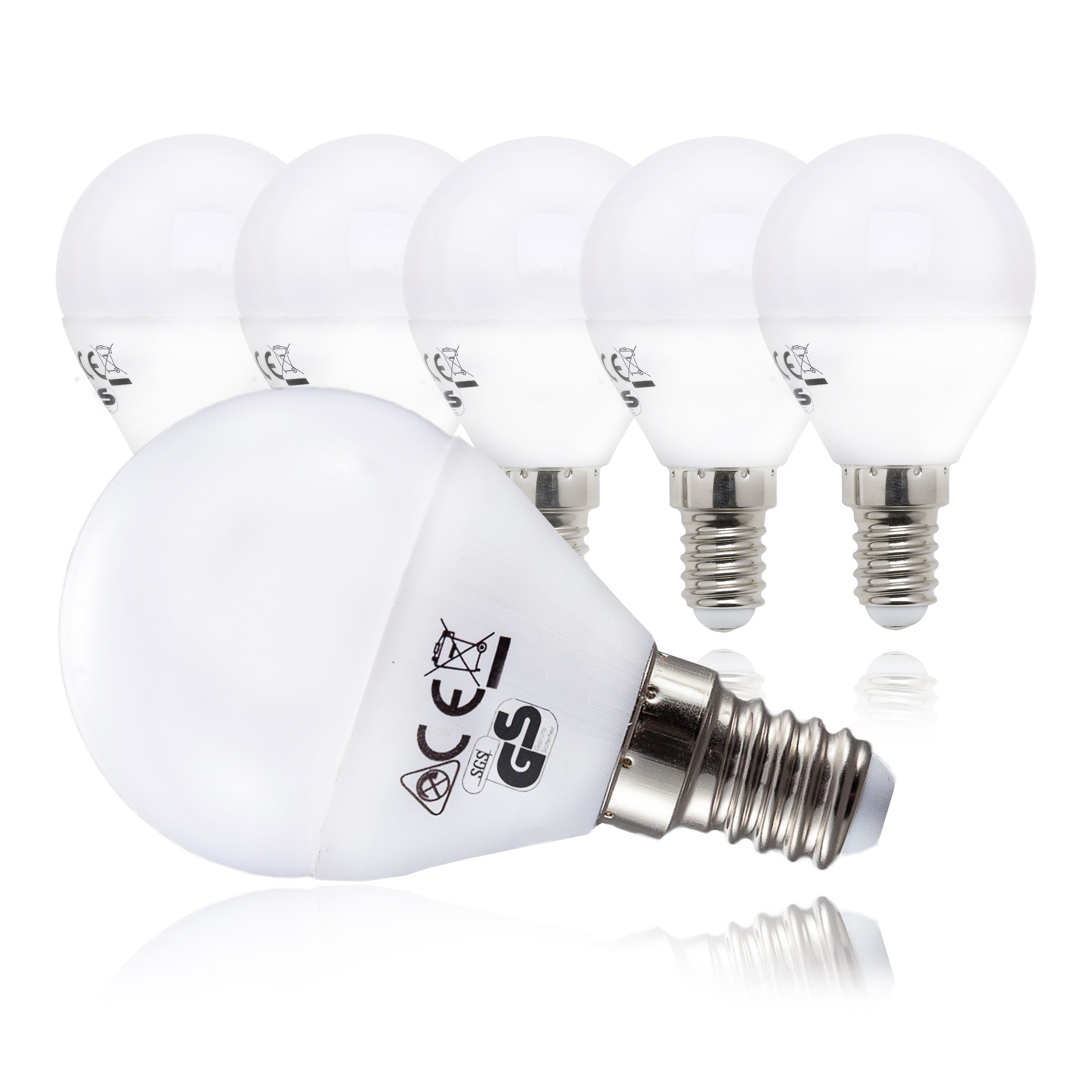 5 x 5W Bombillas LED E14 Ø 45mm 230V, Luz blanco cálido 3000K 470lm IP20