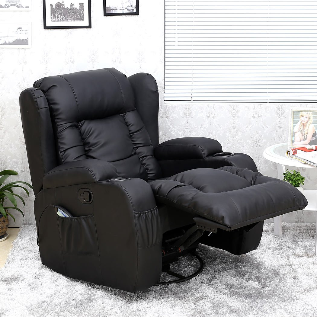 more4homes tm caesar 10 in 1 winged recliner chair rocking massage