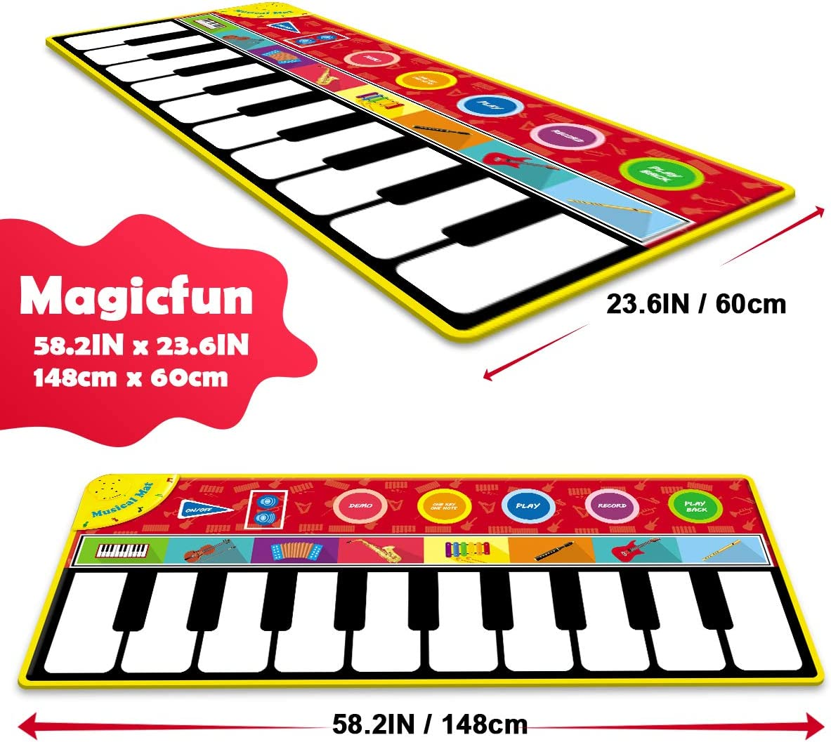 """Magicfun Kids Musical Mat, Musical Piano Mat 8 Instrument Sounds 5 Play Modes with 3 AA Batteries and 1 Screwdriver Dance and Learn Mat for Boy Girl Toys 58.26"""" x 23.62"""": Toys & Games"""