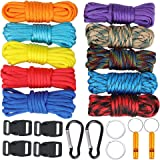 WEREWOLVES Paracord 550/350lb Type III - Paracord Combo Crafting Kits -Many Colors of Parachute Cord with Buckles & Carabiner and Key Rings