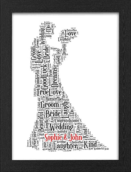 Wedding Gift Personalised Print Gift with FREE FRAME Word Art ...
