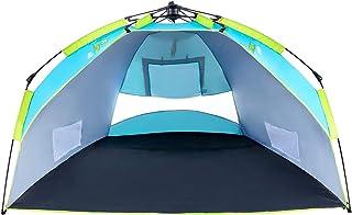 Nacuwa Tente de Plage, Pop Up Léger Abri Soleil, 2Places Portable UPF 50+ Résistant à l'eau de Plage Abat-Jour avec Sac de Transport (Bleu/Vert) Pop Up Léger Abri Soleil