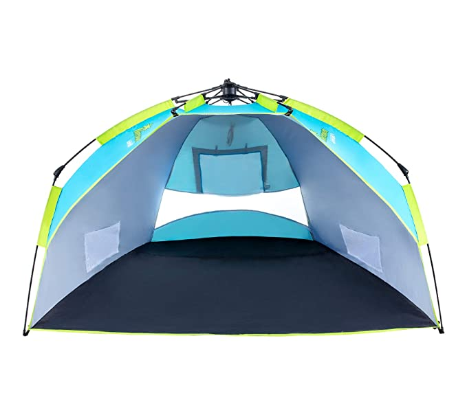 Beach Tents Pop Up Tent Easy Setup, 3 Person Portable Sun Shelter with UV Protection UPF 50 for Sand , Anti UV for Beach Hiking Camping Holidays, Water Resistant with Carrying Bag, Blue