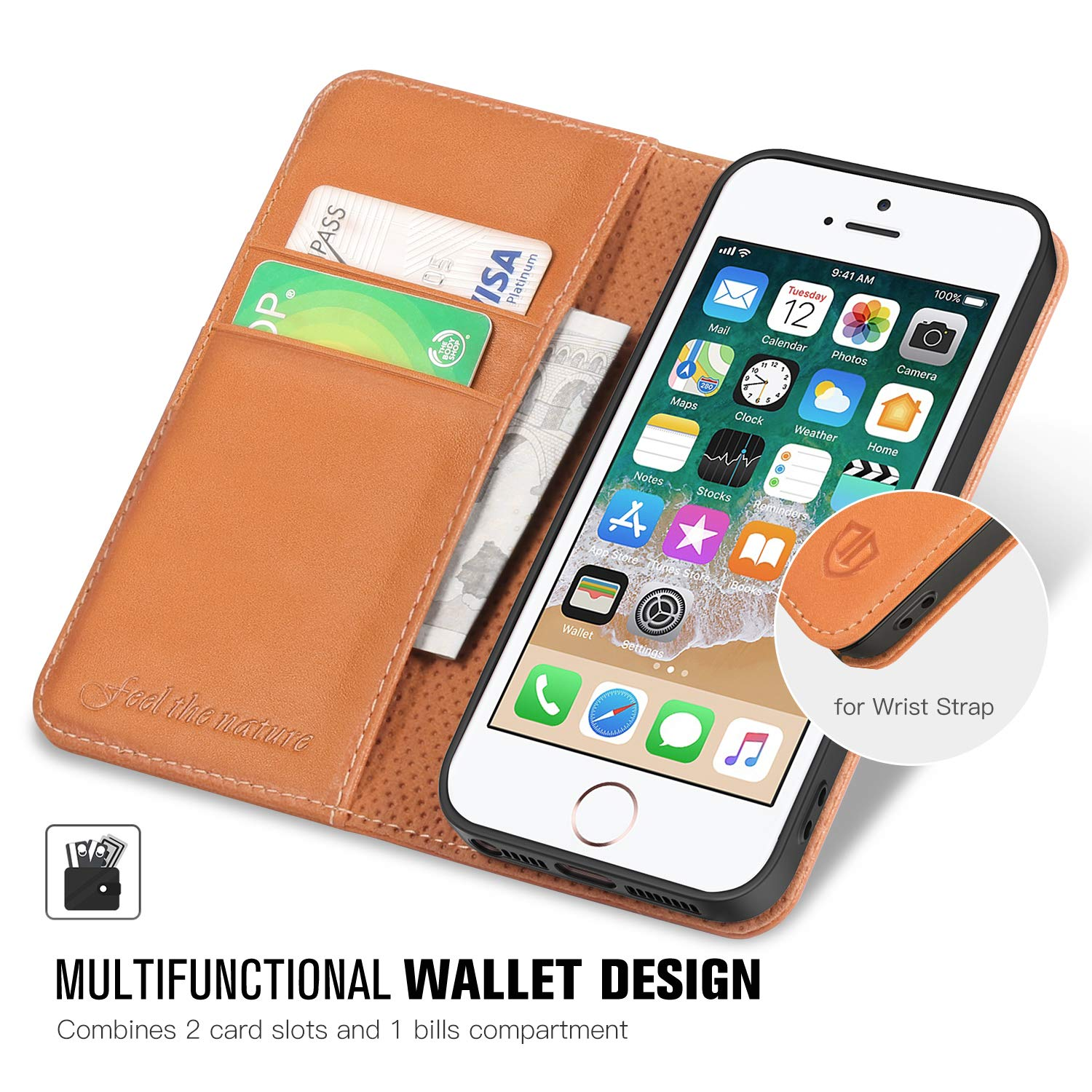 SHIELDON Genuine Leather Wallet Case iPhone SE Case iPhone 5S Case Cognac Brown Magnetic Flip Book Cover with Kickstand Card Slots Compatible with iPhone SE // 5S // 5