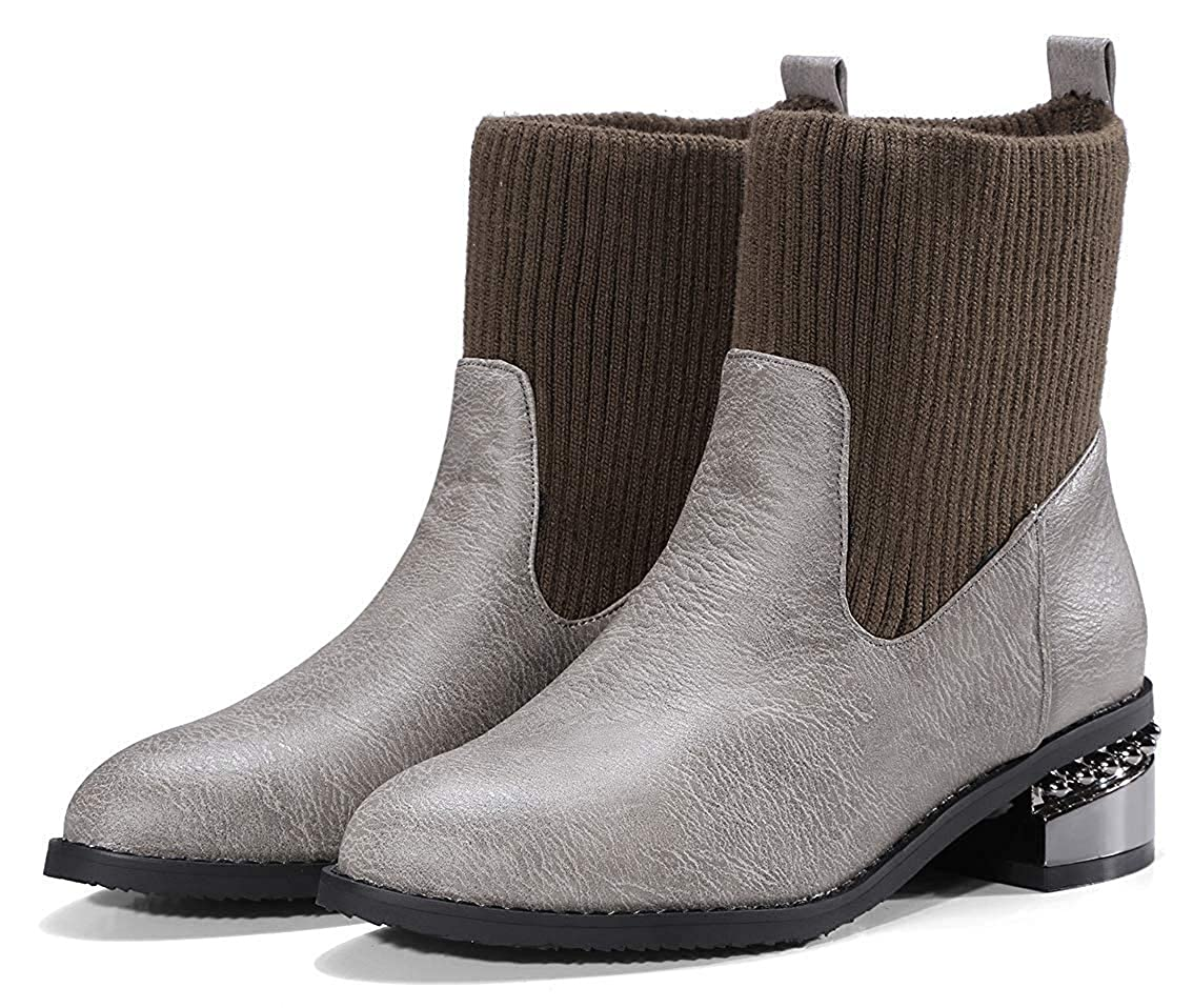 Womens Casual Knitted Pointed Toe Short Boots Pull On Sweater Chunky Mid Heel Ankle Booties