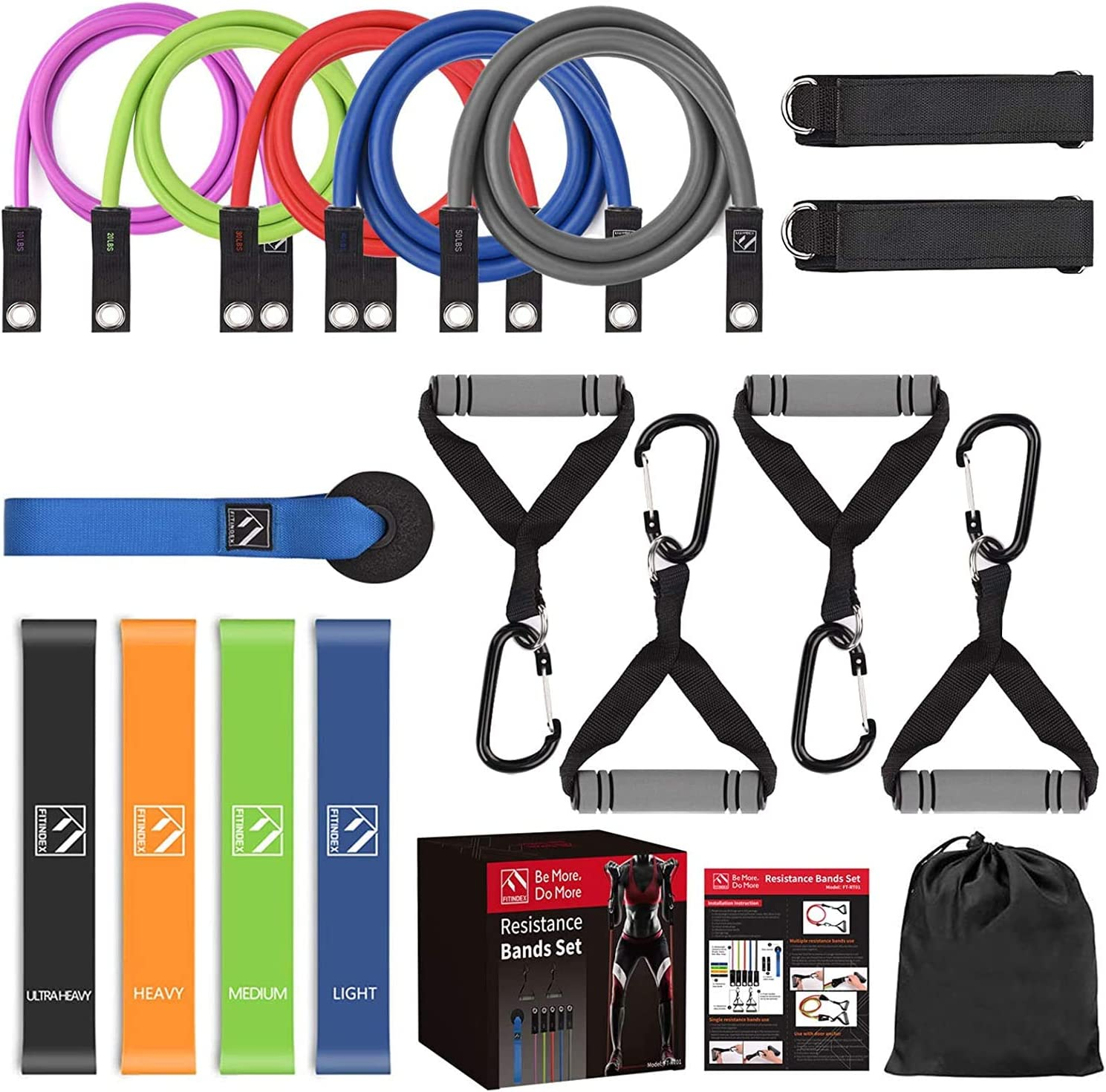 AU STOCK 11 PIECES RESISTANCE BANDS UP TO 150LB WITH INSTRUCTIONS