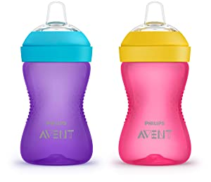 Philips AVENT My Grippy Spout Cup, 10oz, 2pk, Pink/Purple, SCF801/22, Multi