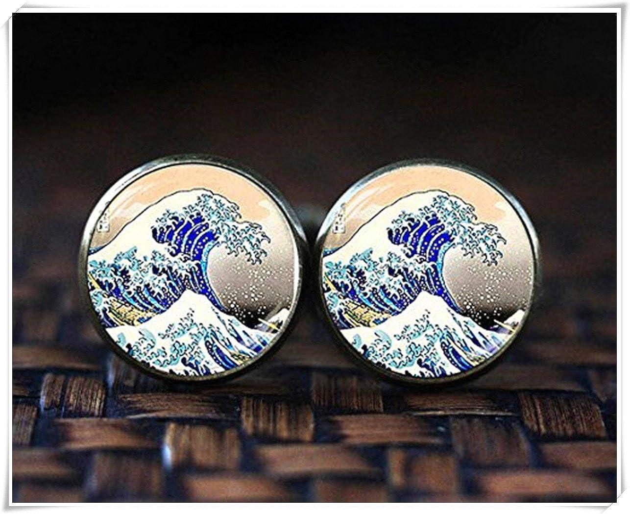 Boutons de manchette Art japonais, Japon la Grande Vague, Hokusai japonais Wave Boutons de manchette beautiful dandelion JX36