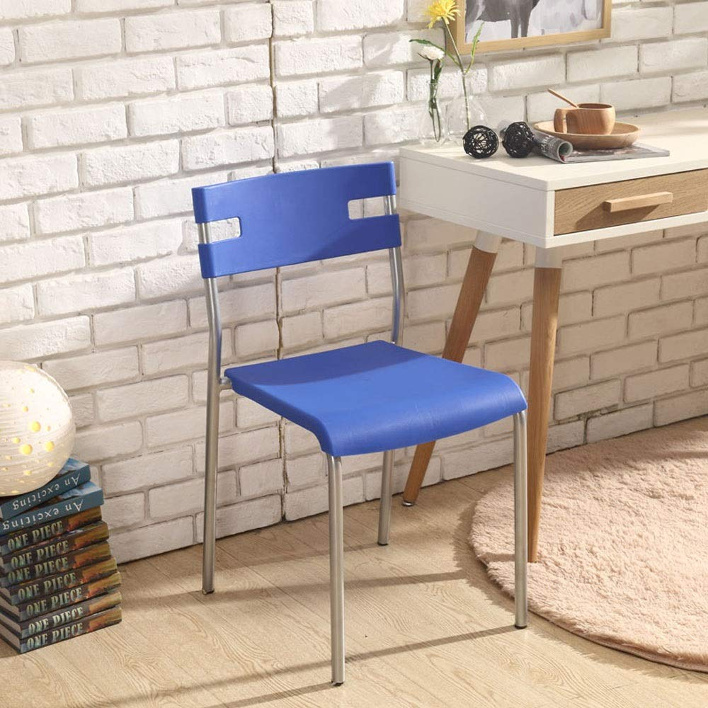 bluee Plastic Chair Fashion Modern Minimalist Economy Home Computer Stool Office Chair Restaurant Adult Dining Chair (color   bluee)
