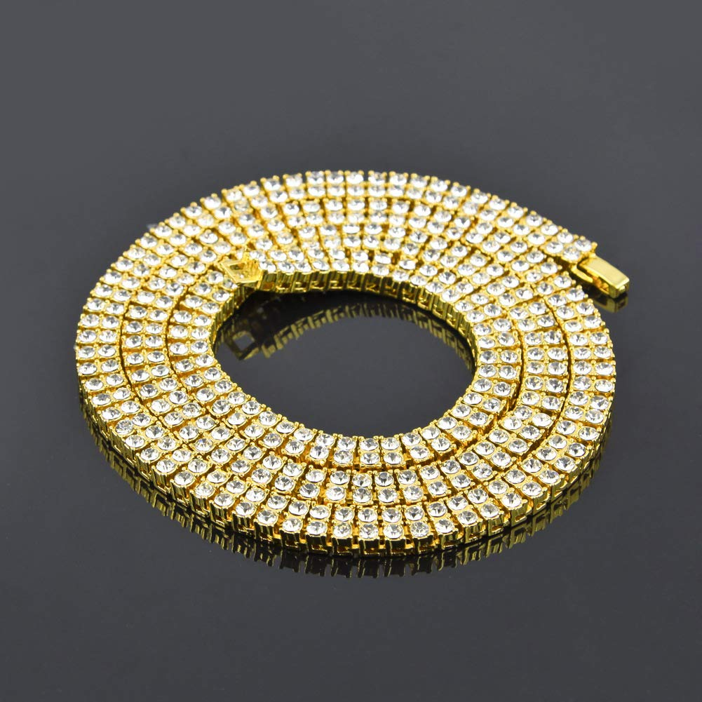 20//24//30 inches Chain Fashion Gifts,Gold,30inches Mens Necklace 2 Rows Crystal Gold//Silver Bling Chain Hip Hop Jewelry Tennis Chain Necklace