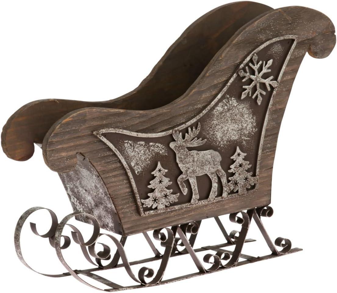 Wei/ß Dekoobjekt Schlitten 100 cm Deko-Regal Holz Pureday Weihnachtsdeko H/öhe ca