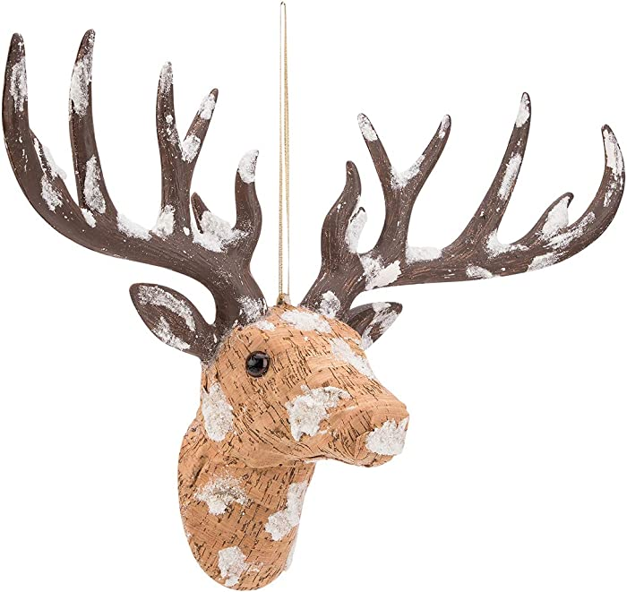 ARCCI Reindeer Head Figurine Beige Faux Deer Head Wall Decor Brown Antlers- Handmade Animal Head for Home Bar Office Holiday Decoration
