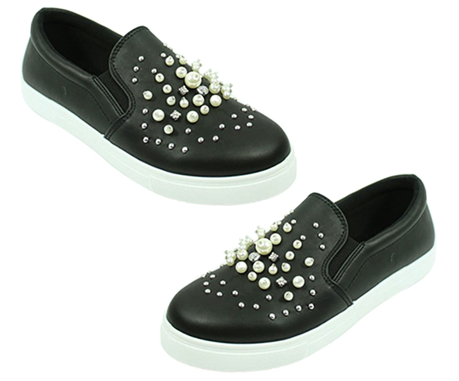TravelNut Back to School Sale Kenna Classic Slip On Casual Skateboard Sneakers for Women (Assorted Colors) B079KSZQPZ 6.5 M US Pearl Kenna Black