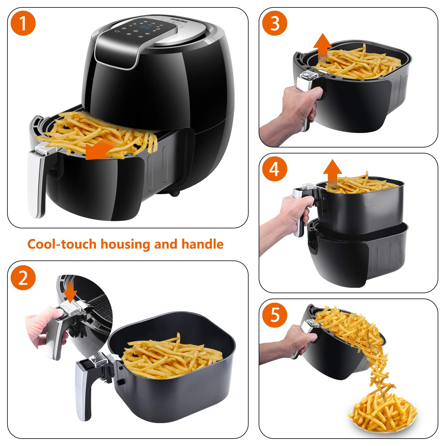 Amazon.com: AUKUYEE Air Fryer Oil Less Cooker with Touch ...