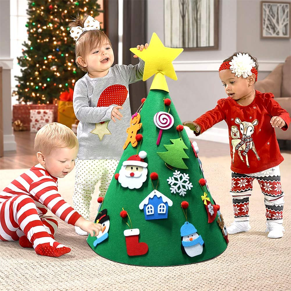 Aparty4u 3d Diy Felt Christmas Tree Toddler Friendly Christmas Tree Hanging Ornaments Kids Xmas Gifts For Christmas Decorations