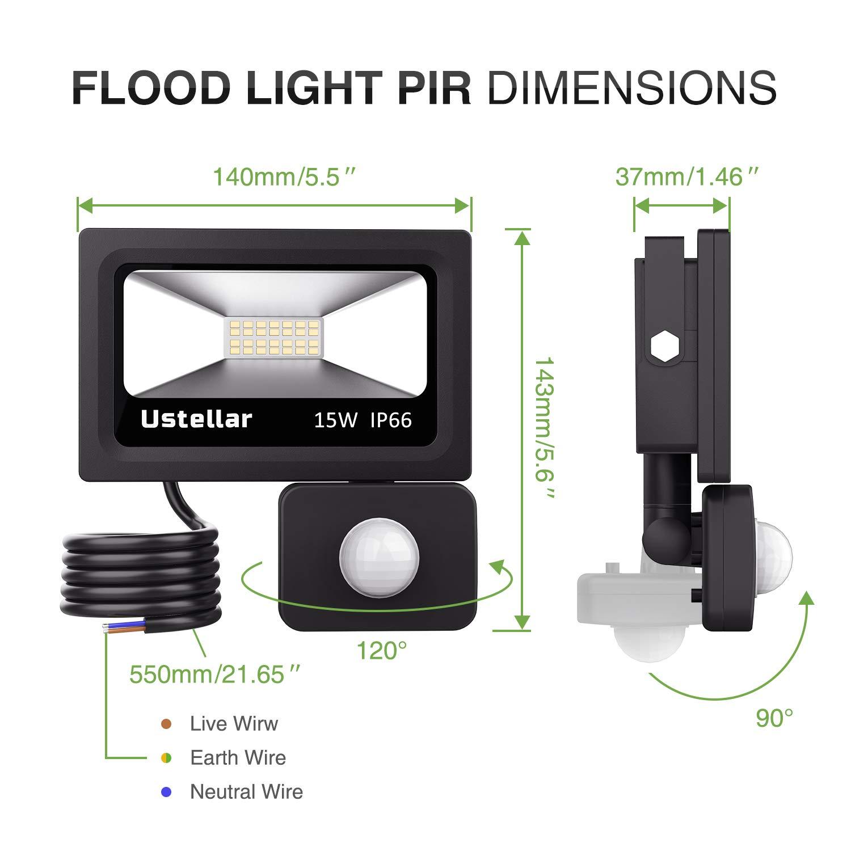 Ustellar Led 60w Motion Sensor Light Super Bright 4800lm Pir Also Wiring Lights Together With Floodlight 300 Halogen Bulb Equivalent