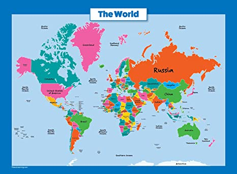 World Map for Kids - Laminated - Wall Chart Map of The World ...