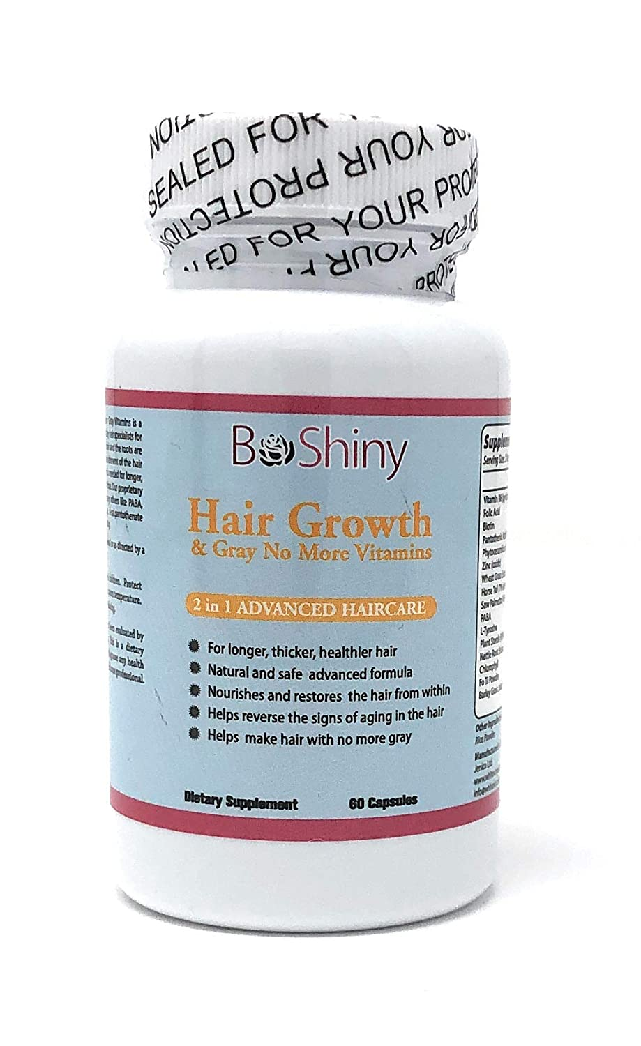 Hair Growth Vitamins with Biotin. Exclusive No More Grey Hair Product for Women for Longer, Stronger, Silky & Soft Hair. Gluten Free Non-GMO Vitamins for Hair Growth Made in USA