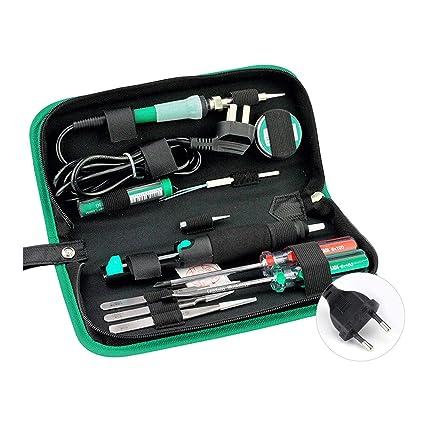 LA101312 12PCS Set de soldadura eléctrica con destornilladores Pinzas Pasta de soldadura de alambre de estaño