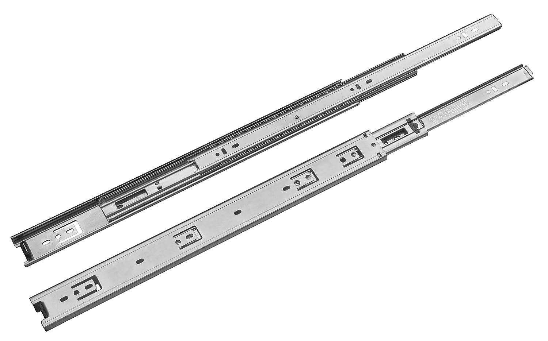 Lote de 10 pares (20 piezas) de guías correderas a bolas para cajón L: 450 mm/extracción total/carga máxima – 30 kg / PK44-450 Gamet