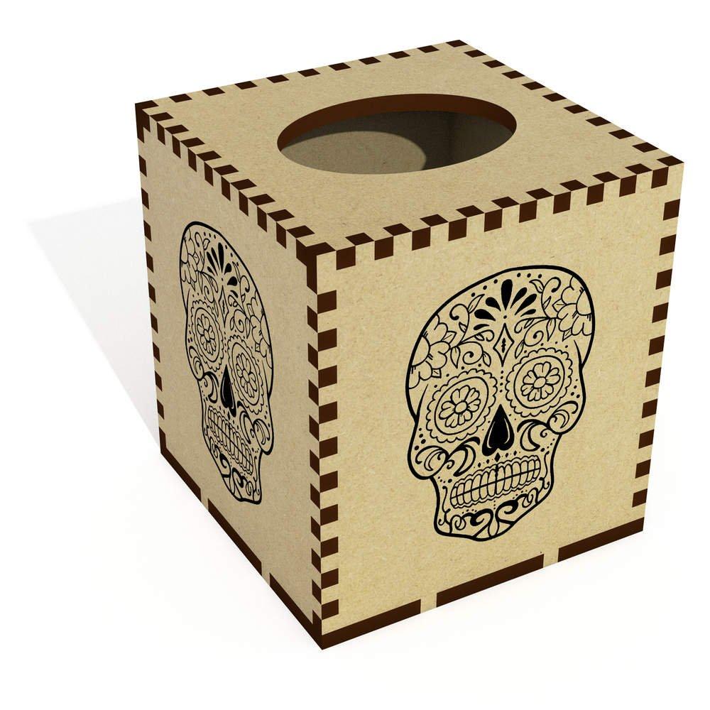 Azeeda Square 'Sugar Skull' Wooden Tissue Box Cover (TB00030021)