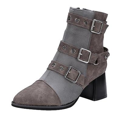Spitz Damenschuhe Stifeletten Blockabsatz Schnalle Hoher Absatz Ankle Boots Neu