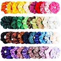 VEZARON 40 Pcs Hair Scrunchies Velvet Elastic Hair Bands Scrunchy Hair Ties Ropes Scrunchie for Women or Girls Hair Accessories - 40 Assorted Colors Scrunchies (Mulitcolor)