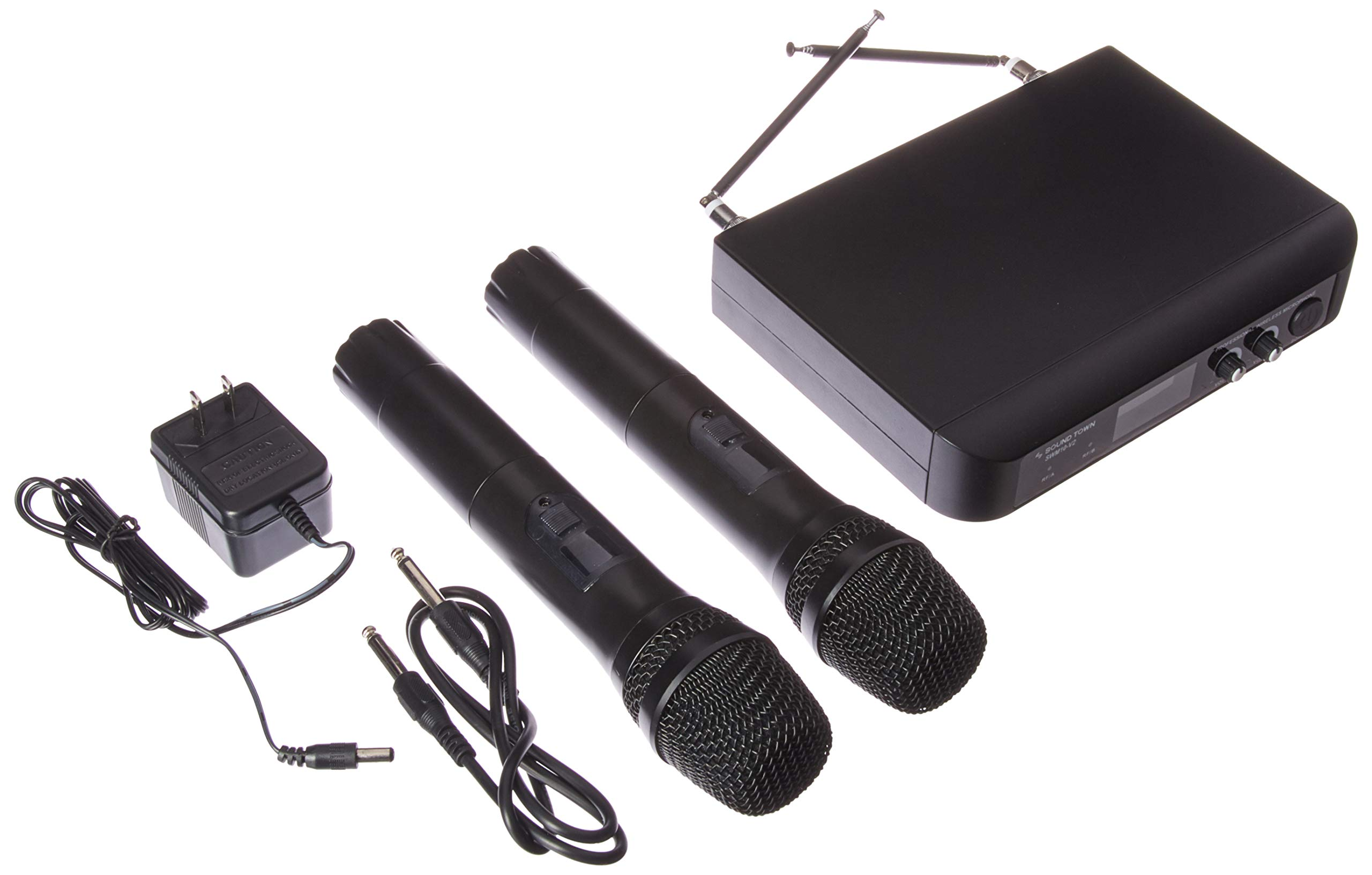 Sound Town Professional Dual-Channel VHF Handheld Wireless Microphone System, 2 handheld mics, for Church, Business Meeting, Outdoor Wedding and Karaoke (SWM10-V2HH)