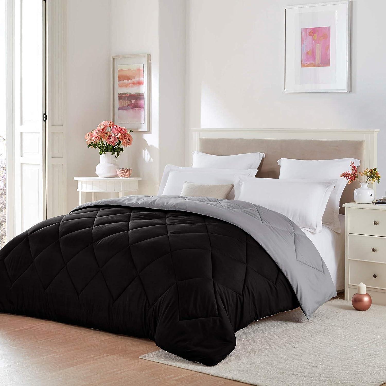 Seward Park Solid, Reversible Color Microfiber Comforter, Hypoallergenic Plush Microfiber Fill, Duvet Insert or Stand-Alone Comforter, Fall/Winter Blanket, Twin Extra Long, Black/Grey