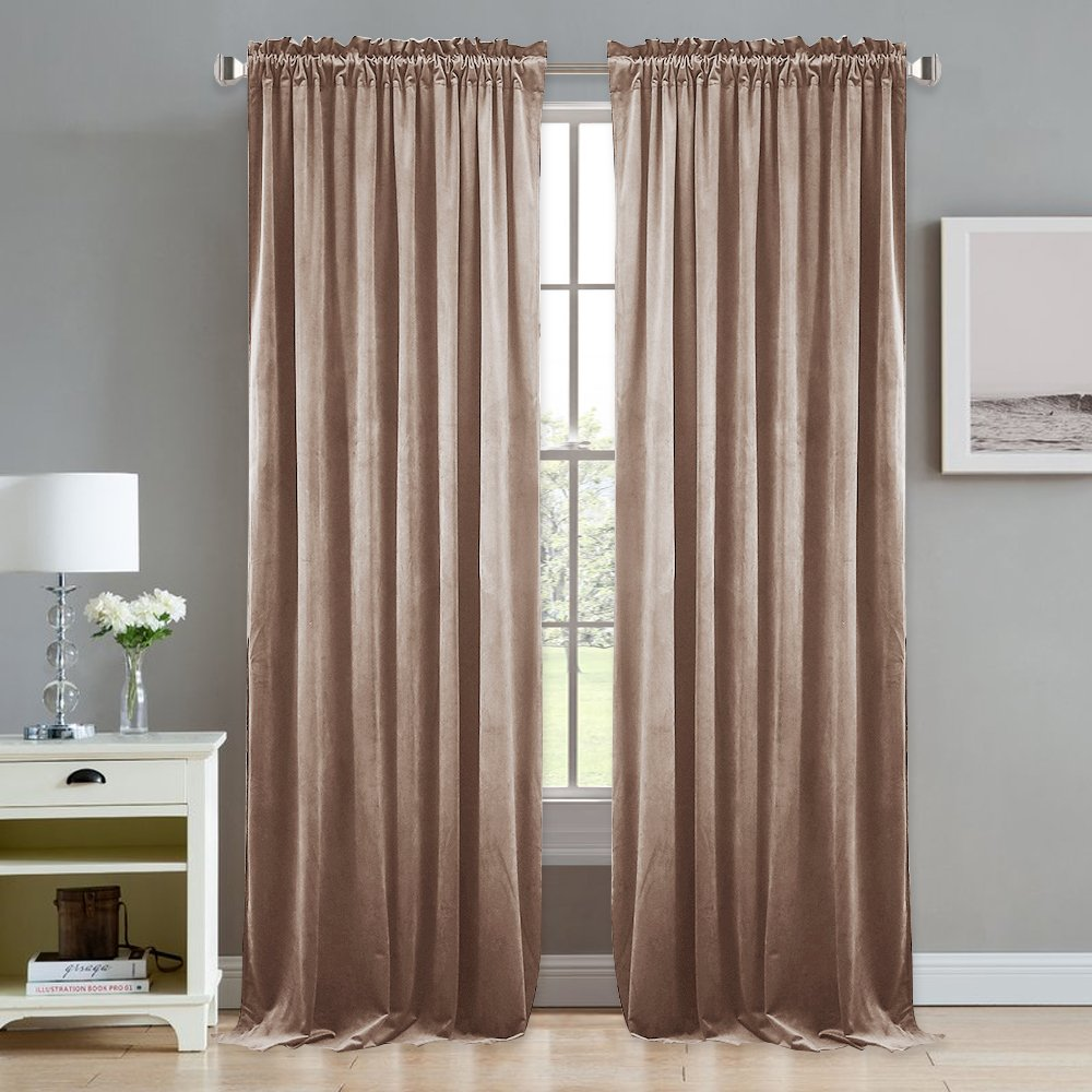 NICETOWN Velvet Room Darkening Curtains/Drapes - Rod Pocket Classic Panels in Almond Cream for Summer, Autumn & Winter (Blush Pink, Double Panels, 84'' Length)