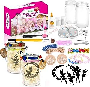 Sergia Fairy Light Lantern Arts and Crafts Supplies DIY Kits -for Ages 4-8-12 5 6 7 9 10 11 13 -Years Old Girls Boys Kids Toys Fairies Lantern Set for Birthday Christmas Party (Fairy Lantern)