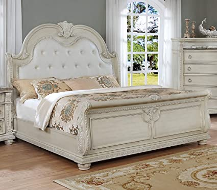 best website 4e9a1 e908a Amazon.com - Stanley Antique White King Bed w/Upholstered ...