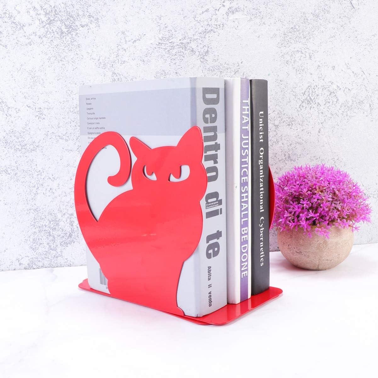 VOSAREA 2 Piezas Gato sujetalibros Decorativo Metal Libro Organizador Soporte Lindo Arte sujetalibros para Oficina hogar