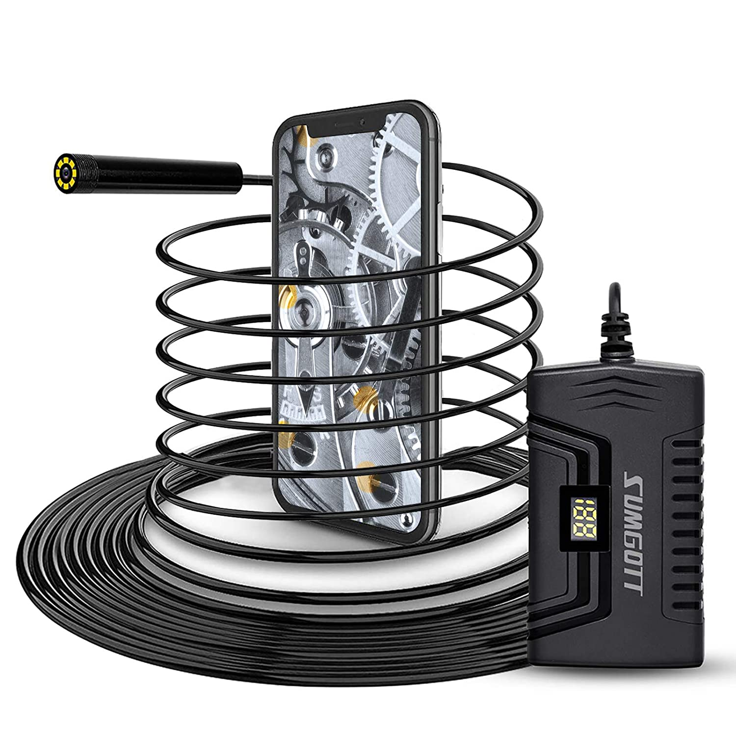 Wireless Endoscope, SUMGOTT WiFi Borescope 2 Megapixels 1080P HD IP68 Waterproof Snake Inspection Camera with 2600 mAh Battery for Android and iOS Smartphone, iPhone, Samsung, Tablet(5M/16.4FT)