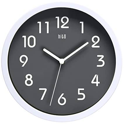 hito silent wall clock non ticking 10 inch excellent accurate sweep movement glass cover modern - Kitchen Clock