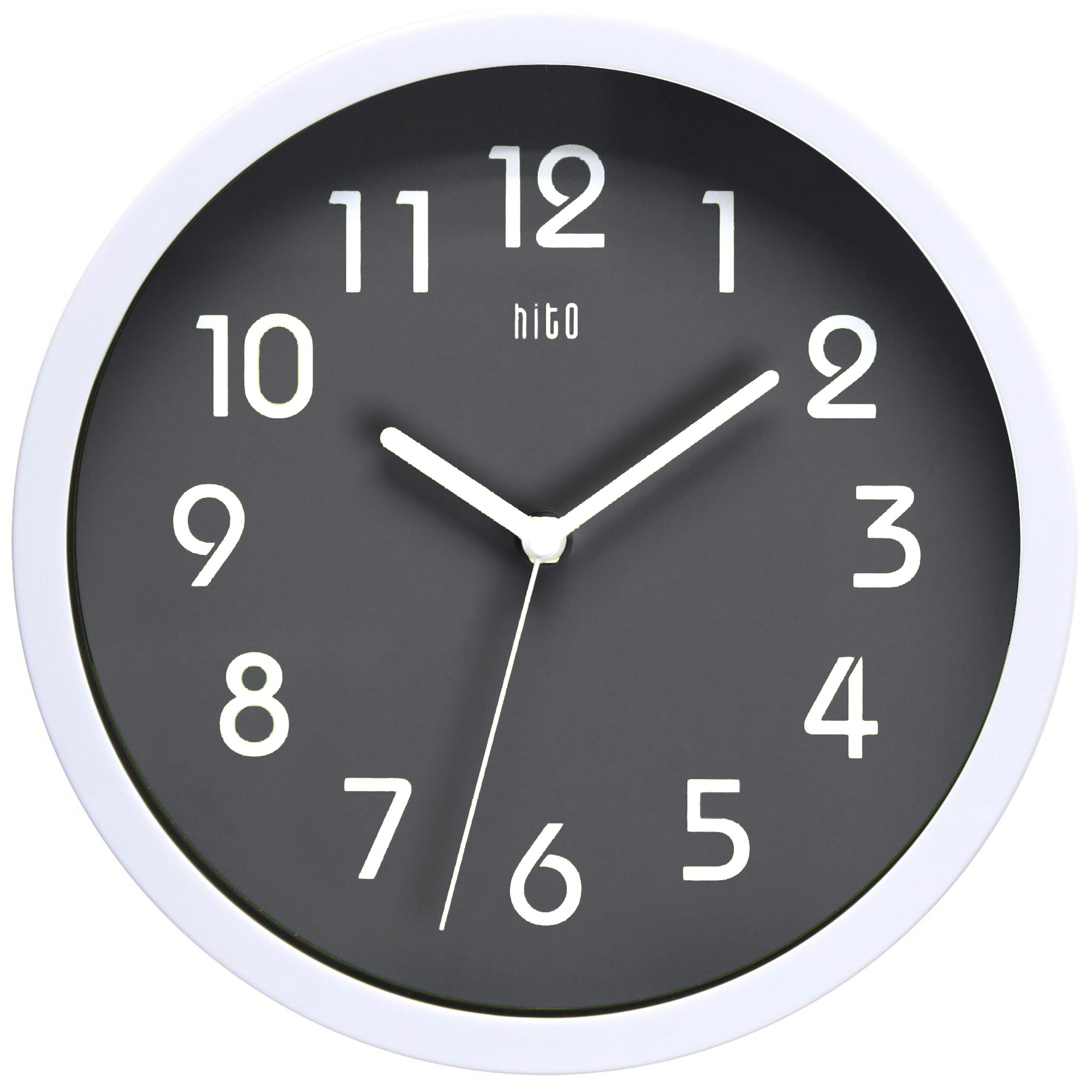 hito Silent Wall Clock Non ticking 10 inch Excellent Accurate Sweep Movement Glass Cover, Modern Decorative for Kitchen, Living Room, Bathroom, Bedroom, Office (Gray) by hito