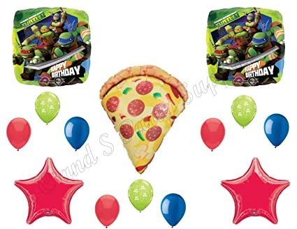 TEENAGE MUTANT NINJA TURTLES & PIZZA! Birthday Party Mylar Balloons Decorations Supplies Movie